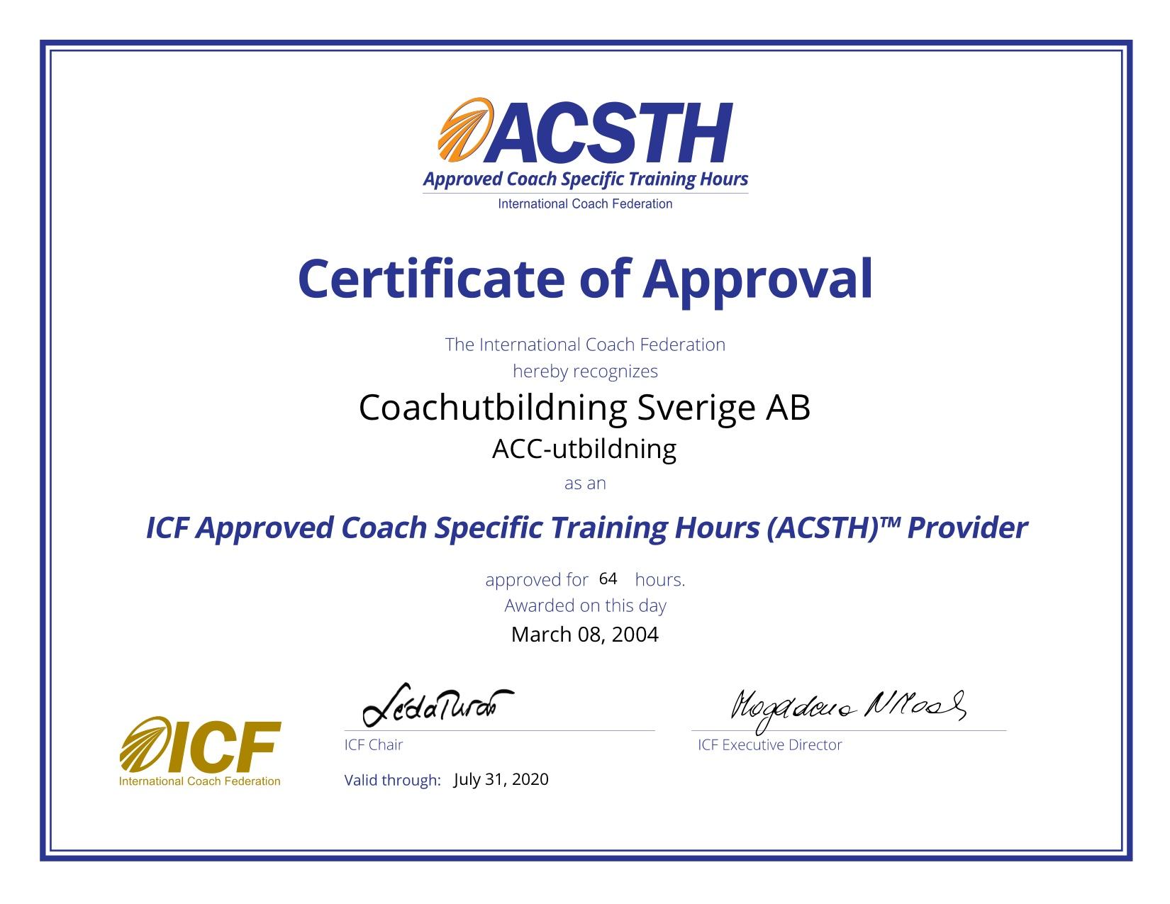 2. ACSTH Certificate
